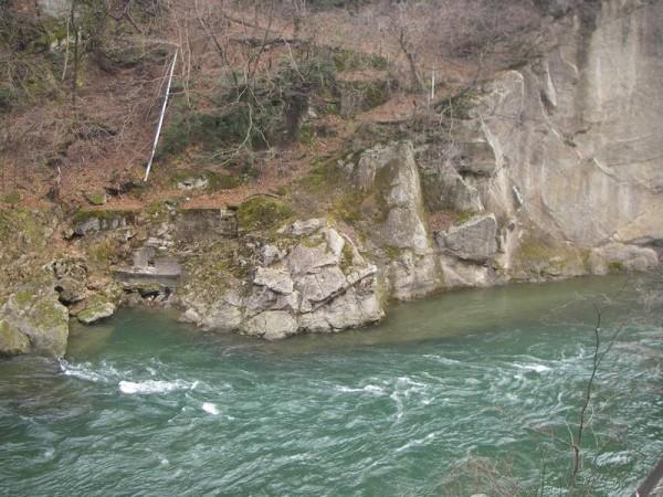 湯野上温泉 旅館 新湯 混浴露天風呂の眺め