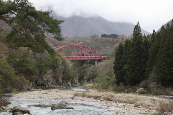 塔のへつり 吊り橋からの景色