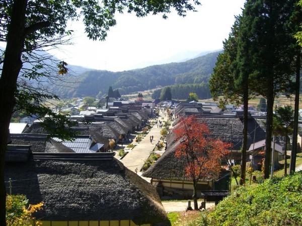 福島県 大内宿 高台からの全景